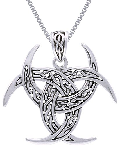 Jewelry Trends Sterling Silver Celtic Trinity Knot Triple Crescent Moon Pendant on Chain Necklace (Celtic Moon Necklace)