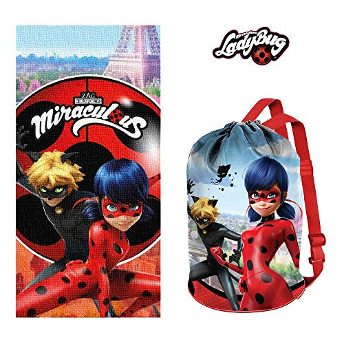 Beach Towel Ladybug and Cat Noir Miraculous Bundle with Bag Gym Sack