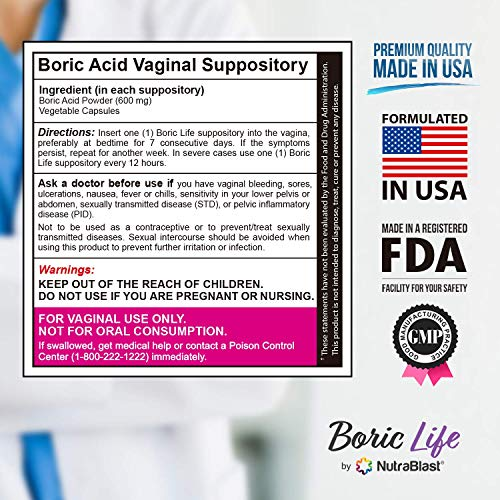 NutraBlast Boric Acid Suppositories 600mg (30 Count) w/NutraBlast Disposable Vaginal Suppository Applicators (15-Pack) and Feminine pH Test Strips 3.0-5.5 (100 Tests Roll)