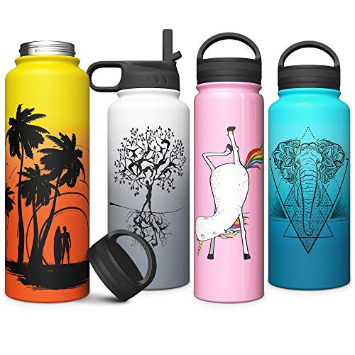 32 oz Stainless Steel Vacuum Insulated Wide Mouth Water Bottle with Straw Thermos Keeps Cold Hot Lightweight Double Wall Copper Lined Powder Coated Travel Flask Sweat Free Leak Proof Tree of Life