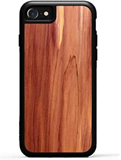 product image for Carved Eastern Red Cedar - iPhone 8 - Black Traveler Protective Wood Case, Unique Real Wooden Phone Cover (Rubber Bumper, Fits Apple iPhone 8)