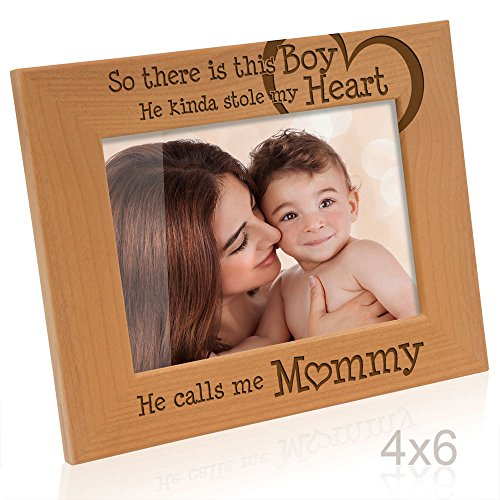 Kate Posh So There is This Boy He Calls me Mommy - Natural Engraved Wood Photo Frame - Mother and Son Gifts, Mother's Day, Best Mom Ever, New Baby, New ()