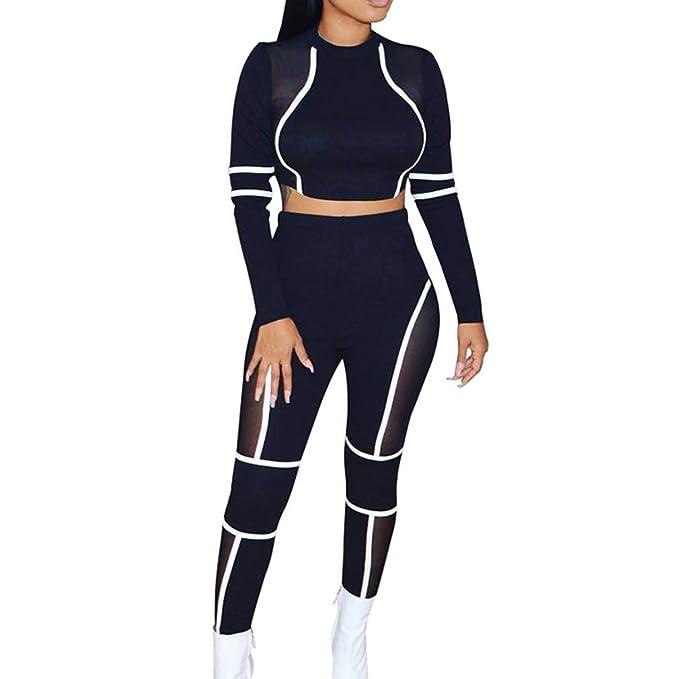 eaa51216796b 2pcs Chándal de Mujer Slim Fit Traje de Deportes Moda Ropa Deportiva ...