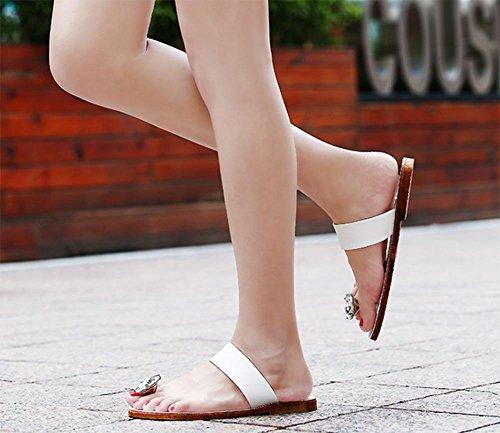 Frau Sommer Sandalen und Pantoffeln flachen Sandalen Flip Diamantkristall White