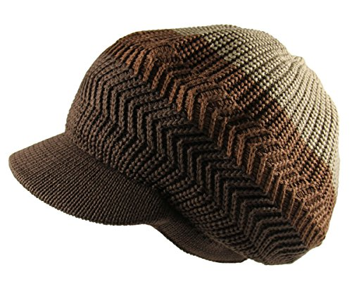 RW Knitted Cotton Rasta Slouchy Beanie Visor (Khaki/Brown/D.Brown)]()