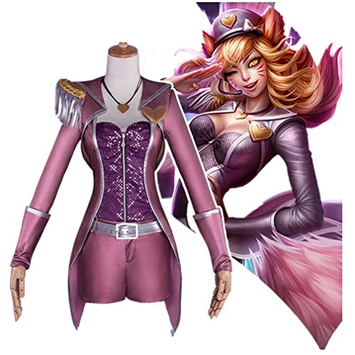 LOL Cosplay Ahri Game The Nine-Tailed Fox Popstar Purple Fighting Full Set
