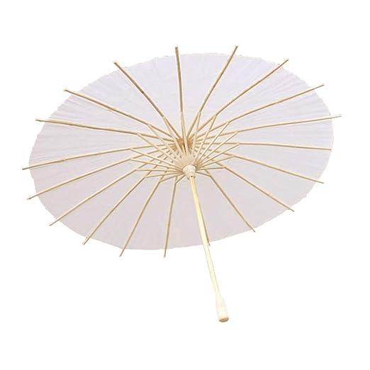 Toyvian niños Paraguas de Papel DIY Paraguas Blanco Pintado ...