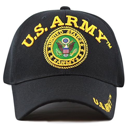 THE HAT DEPOT Official Licensed 3D Embroidered Military Classic One Size Cap (Black-U.S Army) -