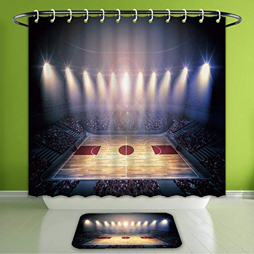 Waterproof Shower Curtain and Bath Rug Set Crowded Basketball Arena Just Bee The Game Starts School Tournament Theme Image Beige Nacy Brow Bath Curtain and Doormat Suit for Bathroom 72
