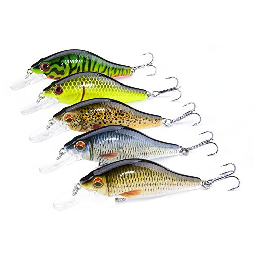 FOVONON Crankbaits Set Lure Fishing Hard Baits Swimbaits Boat Ocean Topwater Lures Kit Fishing Tackle Minnow Vib Set For Trout Bass Perch Fishing Lures with Box