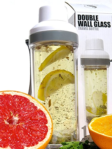 """Tea Infuser Bottle-16oz-Double Wall -Tea Tumbler-For Loose Leaf Tea & Fruit infusion-Glass Water Bottle w/ Strainer Lid-Travel Mug For Hot & Cold Beverages -Lose Weight-by My Healthy Way"""
