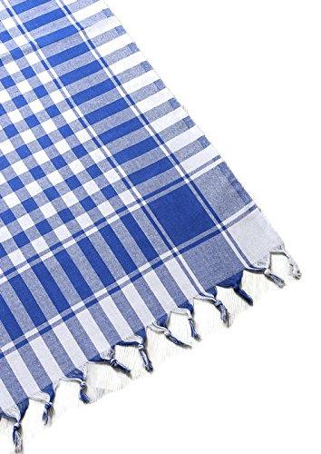fdm Tablecloth Linen 100% Cotton Checkered Gingham Buffalo Picnic Blanket (62x62 inches, Blue) ()