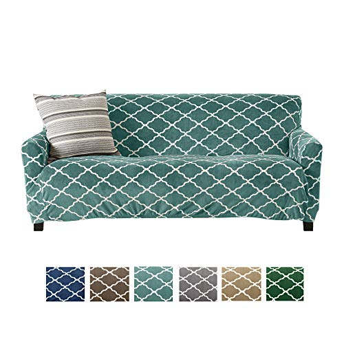 Great Bay Home Modern Velvet Plush Strapless Slipcover. Form Fit Stretch, Stylish Furniture Shield/Protector. Magnolia Collection Strapless Slipcover by Brand. (Sofa, Aqua)