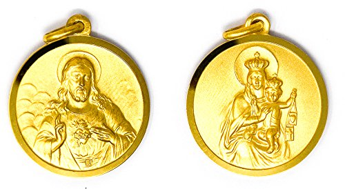 Gold Scapular Medal - DIRECT FROM LOURDES Scapular Medal - Sacred Heart of Jesus & Our Lady of Mount Carmel + Prayer Card.