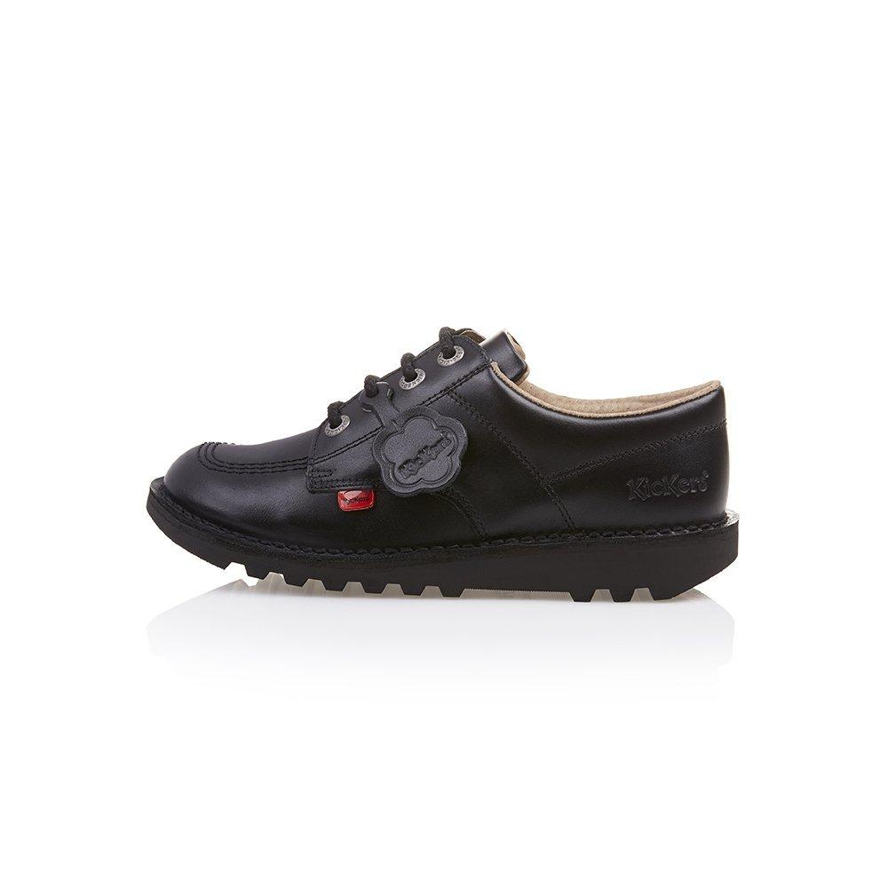 Kickers Kick Lo J Core Junior Boys Girls Kids Leather Lace-Up School Shoes Black