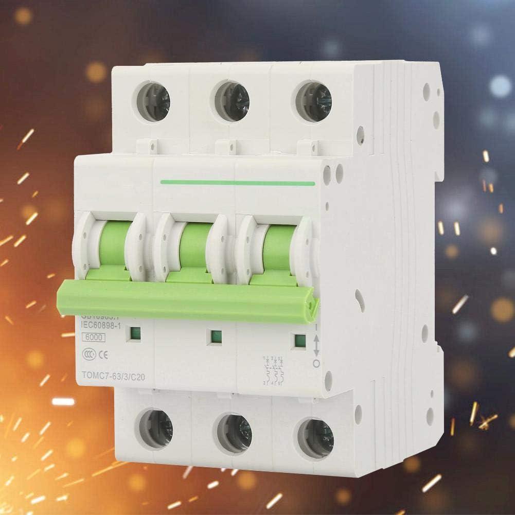 Disjoncteur TOMC7-63 4P C-type 6KA Disjoncteur miniature Commutateur dair de protection de fuite 380V//415V AC 16A