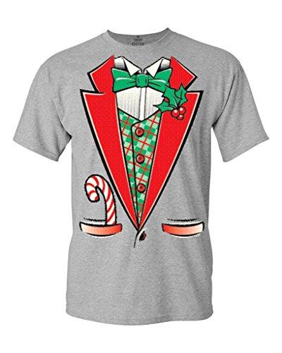 [Tuxedo Christmas Costume T-shirt #12258 Funny Xmas Shirts X-Large Sports Grey] (Mens Sports Costume Ideas)