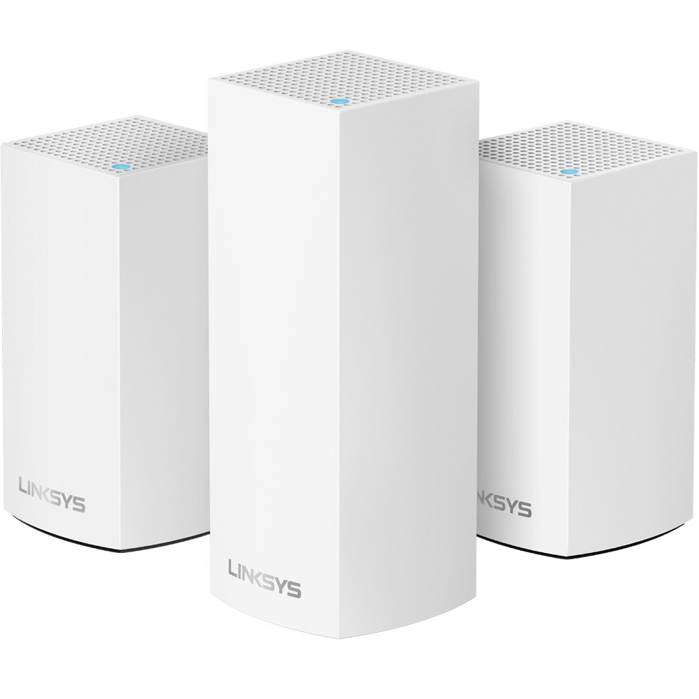 Linksys Velop Home Mesh WiFi System Bundle (Dual/Tri-Band Combo) - WiFi Router/WiFi Extender for Whole-Home Mesh Network (3-pack, White) by Linksys