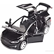 ESHINEY Sell 1:32 Scale Car black Model X90 Tesla alloy diecast Model Car W sound&light Pull Back model Car Toy Cars Kids Toys Collection
