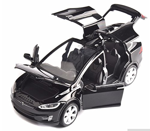 32 Scale Diecast Model (ESHINEY Sell 1:32 Scale Car black Model X90 Tesla alloy diecast Model Car W sound&light Pull Back model Car Toy Cars Kids Toys Collection)