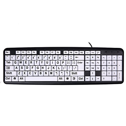 USB Wired Keyboard,Attoe Vision Keyboard with Large Print Letter and White Keys & Black Letters Keyboard, for People Who Needs or Loves Keyboard with Big Letters(Black)