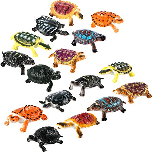 (Bememo 16 Pieces Realistic Sea Turtle Lifelike Tortoises Ocean Animal Plastic Small Turtle Figurines for Party Favor Decoration)