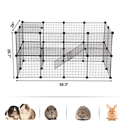 SONGMICS Small Pet Playpen, Metal Wire Apartment-Style Two-Storey Animal Fence and Kennel, Comfortable Pet Premium Villa for Guinea Pigs, Rabbits, Includes Rubber Mallet for Indoor Use ULPI02H by SONGMICS (Image #4)