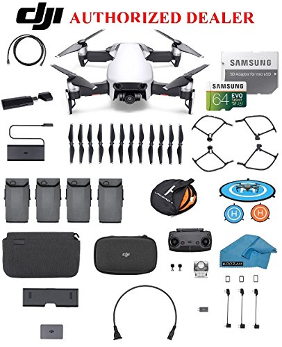 DJI Mavic Air Fly More Combo Drone - Quadcopter with 64gb SD Card - 4K Professional Camera Gimbal – 4 Battery Bundle - Kit - with Must Have Accessories (Arctic White) Card Cmos Battery