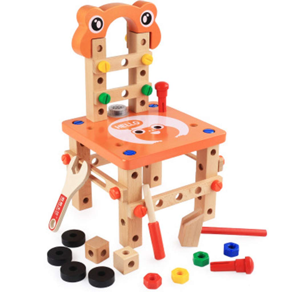 DIY Assembly Toy, Luban Chair Disassembly Assembly Of Nuts Three-dimensional Toy, Double Game, Interaction Puzzle Games for Kids 5 and Up (♥ Orange) by DaoAG