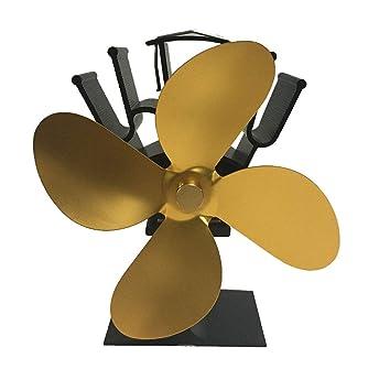 Ventilador de chimenea, MX kingdom ventilador de chimenea sin humo de 4 palas pala horno oro: Amazon.es: Bricolaje y herramientas