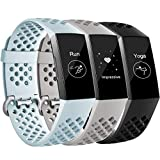 Maledan Bands Compatible with Fitbit Charge 3, Replacement Accessories Breathable Sport Band Wristbands with Air Holes for Charge 3 and Charge 3 SE Fitness Activity Tracker Women Men, 3-Pack