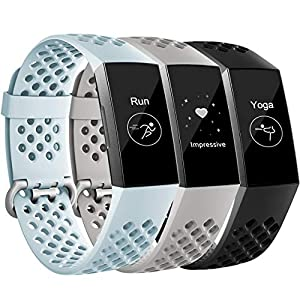 Maledan Bands Compatible with Fitbit Charge 3, Replacement Accessories Breathable Sport Band Wristbands with Air Holes for Charge 3 and Charge 3 SE Fitness Activity Tracker Women Men, 3 Pack