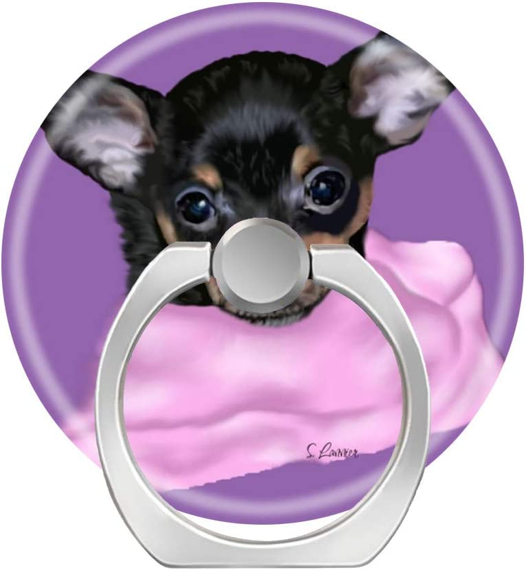 LoveStand-Cell Phone Ring Holder 360 Degree Finger Ring Stand for Smartphone Tablet and Car Mount-Black and tan Chihuahua Dog Puppy