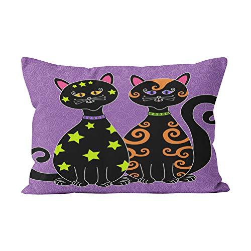 Wesbin Whimsical Black Cats Halloween Cute Hidden Zipper Home Decorative Rectangle Throw Pillow Cover Cushion Case Inch 20x26 Standard One Side Design Printed Pillowcase ()