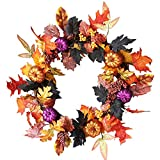 Promisen Festival Garland, Rattan Berry Maple Leaf Fall Wreath Door Wall Ornament Halloween Decoration (Multicolor)