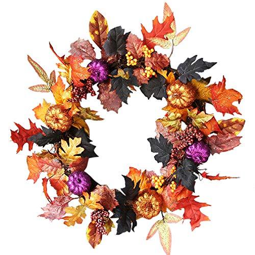 JPJ(TM) New❤Halloween Garland ❤1pcs 60cm Home Fashion Halloween Rattan Berry Maple Leaf Fall Door Wreath Door Wall Ornament (Multicolor) by JPJ(TM) _Christmas products