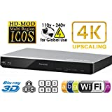 Panasonic 270 Multi Zone All Region DVD Blu ray Player. 4K Upscaling - Wi-FI - 2D/3D - Plays BDs, DVDs, Music CDs. 100-240V World-Wide Voltage & 2m HDMI Cable Bundle.