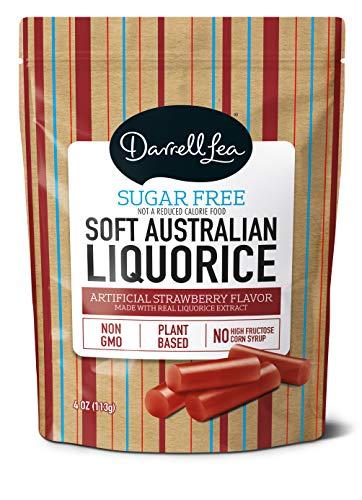 Soft Australian Sugar-Free Strawberry Licorice - Darrell Lea 4oz Bag - NON-GMO, NO HFCS & Kosher   America