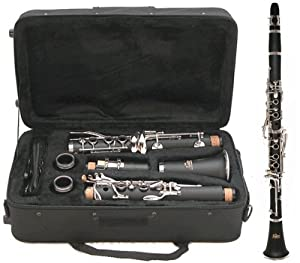 Clarinet - Academy CL2SS BOEHM System Wind Instrument Student Clarinet, Complete with Music Teacher Approval Guarantee - Featuring the Same Key Configuration as the Buffet B12 and Yamaha YCL-250 Models - Black