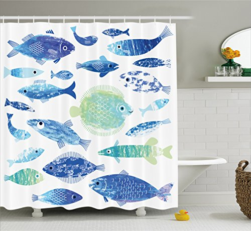 Ocean Animal Decor Shower Curtain by Ambesonne, Artisan Fish Patterns with Wave Lines and Sky Cloud Motifs Marine Life Image, Fabric Bathroom Decor Set with Hooks, 84 Inches Extra Long, Blue by Ambesonne