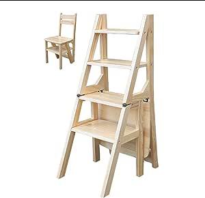 BBG Fácil y multifuncional plegable conveniente del paso de heces, heces Escalera convertible, silla de la escala Biblioteca, 4-taburete de paso de madera natural de múltiples funciones, 120 kg de ca: Amazon.es: