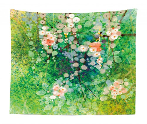 Lunarable Flower Tapestry King Size, Apple Blossoms on Grass with Splashes Grace Sign Elements from Nature Artwork Print, Wall Hanging Bedspread Bed Cover Wall Decor, 104