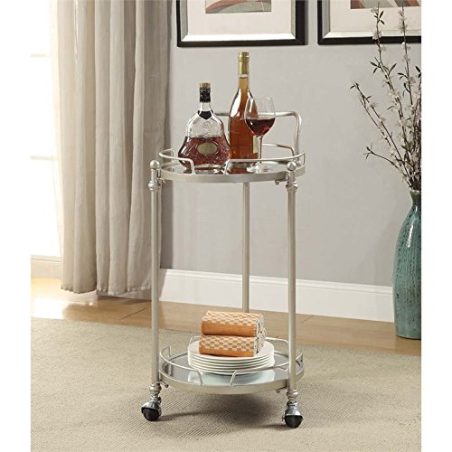 Round Bar Cart in Silver Finish