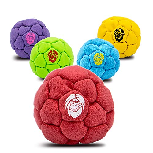 Best Hacky Sack and Footbag | No-Bust Stitching for Hard Kicking | 32 Panel Symmetry for Balance Tricks and Stalling | Professionally Hand-Stitched with Suede Material (Sand, Red)