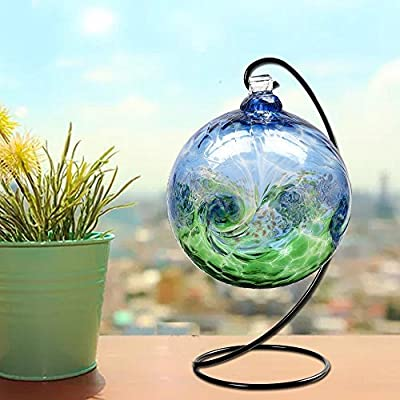HOHIYA Ornament Display Stand Holder Plant Terrarium Witch Christmas Ball Bauble Glass Globe Air 9inch(Black,Pack of 6)