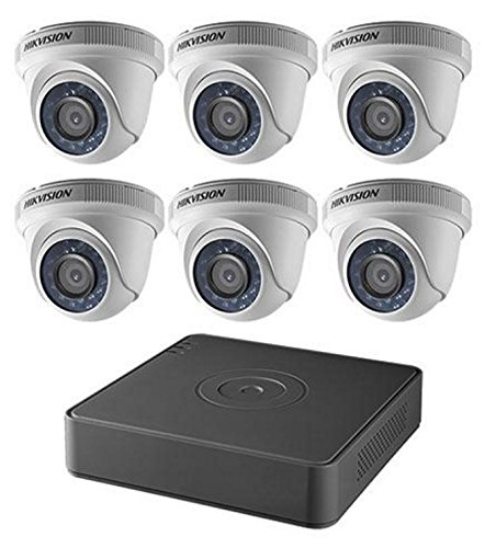 Hikvision USA T7108Q2TA Hikvision Kit, 8 Ch Turbo Hd/Analog Dvr, 2Tb Storage, 6 Outdoor Turret Cameras, Hd1080P, Ir To 60 Ft, 2.8Mm Lens by Hikvision