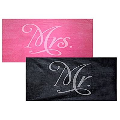 Classy Bride Mr. and Mrs. Beach Towel Set - Fuchsia and Black