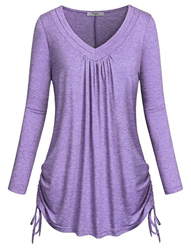 Cestyle Womens Casual Long Sleeve V Neck Drawstrings Tunic Blouse Top