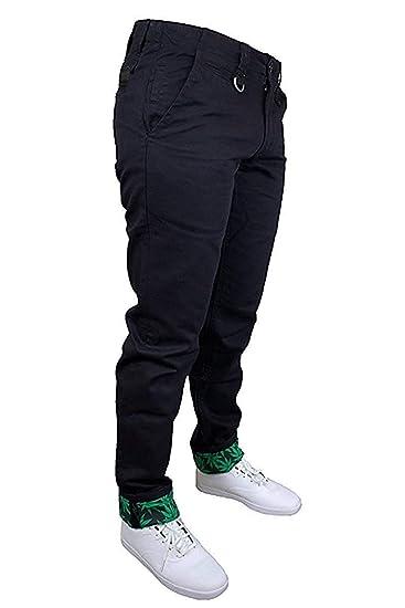 Two angle chino cannabis Noir 34: Vêtements et accessoires