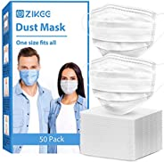 ZIKEE Disposable Respirator (50PCS) with 4D Stereo Structure and 3 Ply Protection (White)
